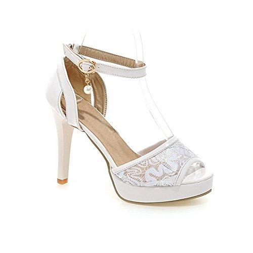 VogueZone009 Damen Weiches Material Fischkopf Schuhe Rein Hoher Absatz Sandalen Weiß