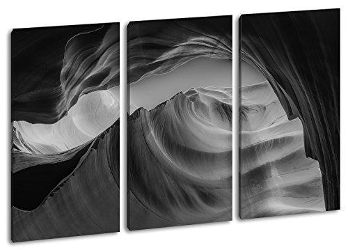 Gesteinsformationen in Arizona Format: 3-teilig 120x80 Effekt: Schwarz/Weiß als Leinwand, Motiv fertig gerahmt auf Echtholzrahmen, Hochwertiger Digitaldruck mit Rahmen, Kein Poster oder Plakat (New Jersey Felsen)