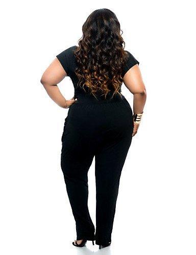 GSP-Combinaisons Aux femmes Manches Courtes Sexy / Grandes Tailles Spandex Moyen Elastique black-l