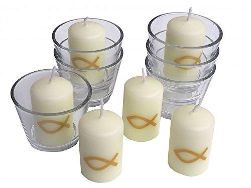 6x Kerzen Fisch Gold und 6x Votivglas Kommunion Taufe Konfirmation Tischdeko Kerzendeko
