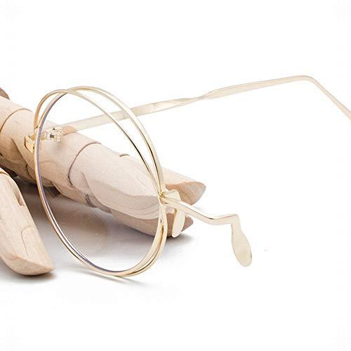 Duhongmei123 Mode Brillen Mode-Halbrahmen-dekorativer einzelner Rand-Glasrahmen mit Kette. Occhiali (Farbe : Golden Frame)