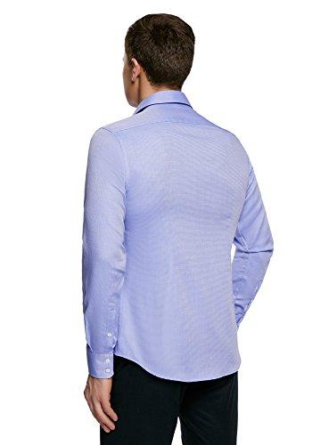 oodji Ultra Homme Chemise Ajustée en Tissu Texturé Bleu (7070B)