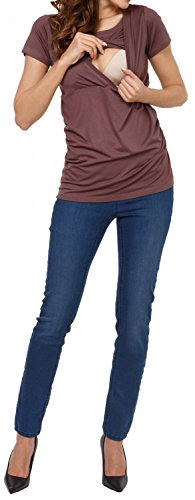 Happy Mama. Damen Umstandsmoden Top Stillshirt Lagendesign Empire-Taille. 790p Cappuccino