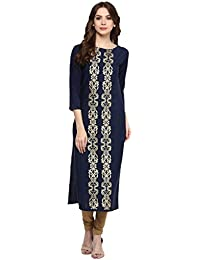 Ziyaa Women's Blue Colour Boat Neck With 3/4 Sleeve Crepe Foil Print Straight Kurta (ZIKUCR461)
