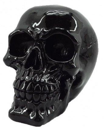 Teschio decorativo verniciato nero 15.5cm, decorazione di interno gotico vampiro Vintage