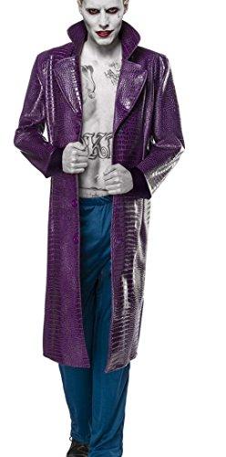 asy Kostüm Joker Verkleidung aus langem Mantel, Hose lässig weit geschnitten in lila blau Kunstleder Kroko L (Harlekin Joker Kostüme)
