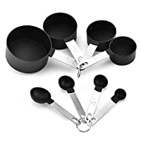 Measuring Spoons and Cups Set of 8, Stainless Steel Handles with Food Grade Plastic, Black