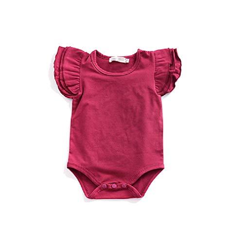 CuteRose Baby Little Girls Ruffled One Piece Jumpsuit Beachwear Shorts Wine Red 100 Ruffled Sunsuit