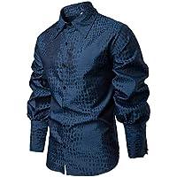 Camisa Slim Fit Casual de Primavera para Hombre Camisa con Botones de Manga Larga Blusa Estampada