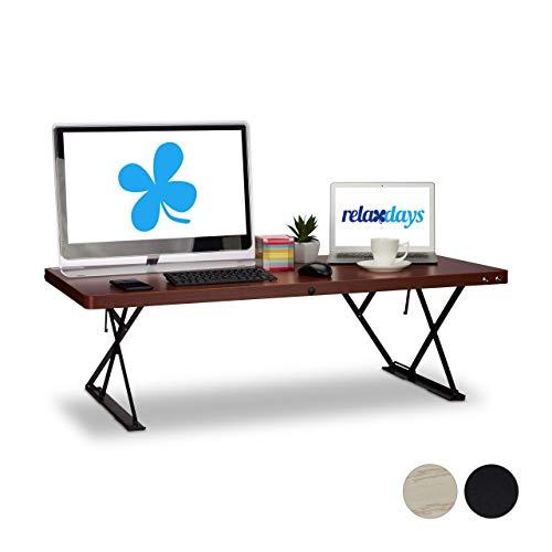 Relaxdays Sitz-Steh-Schreibtisch XXL, elektrisch höhenverstellbar, ergonomischer Schreibtischaufsatz, 120x60cm, rotbraun