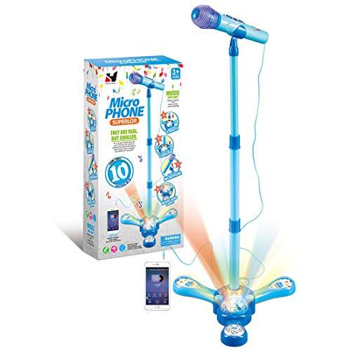 Kinder Mikrofon mit Ständer, Haunen Karaokemaschinen Karaoke-Mikrofon mit Verstellbarem Ständer für Kinder