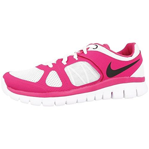 Nike Mädchen Flex 2014 RN (GS) Laufschuhe, Silber/Schwarz/Rosa (Pure Platinum/Ht Pnk-Blk-weiß), 38 1/2 EU