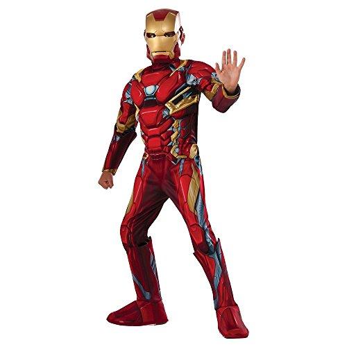 Iron Man Deluxe Muskel Brust Kinder Jungen Kostüm Large (Large)