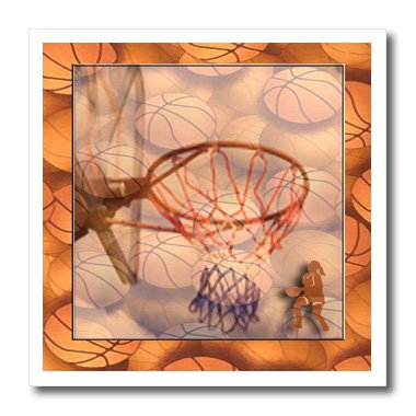 3dRose ht_34259_1 Girl Playing Basketball-Iron on Heat Transfer for White Material, 8 by 8-Inch