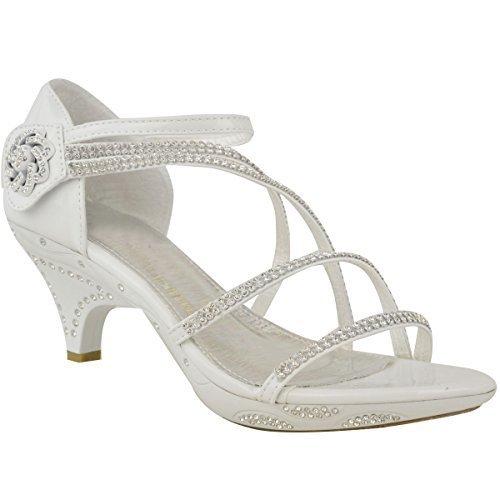Womens ladies tacco basso da sposa con brillantini sandali con cinturino da festa scarpe numeri - bianca vernice / lustrini, 40