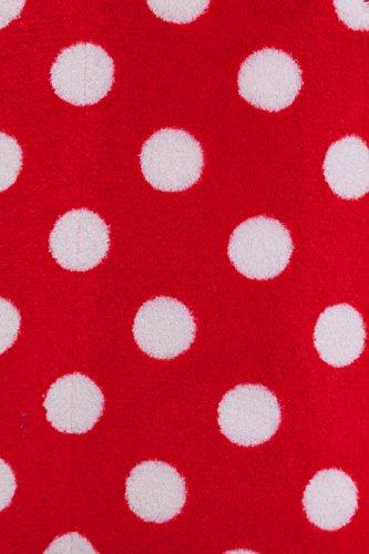 Damen Bademantel Revise RE-609 mit Reißverschluss Rot Mit Weißen Punkten