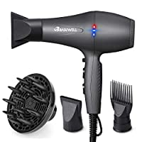 Basuwell Hair Dryer Professional 2100W Salon Hairdryer Ionic Far Infrared 2 Speed 3 Heat Cool Shot Setting AC Motor Blow Dryer With Diffuser/Concentrator/ Comb Air Nozzle - UK Plug Grey