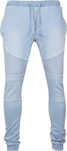 Urban Classics Biker Denim Joggpants Streetwear Pantalone Tuta Uomo Blau (Dark Bleached 01240)