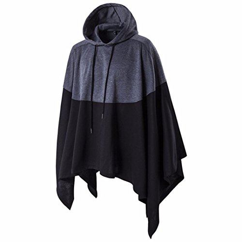 Longra Herbst Winter Herren Mode Unregelmäßige Patchwork Loose Batsleeves Kapuzenpullover Hoodie Sweatshirt mit Kapuzen poncho Cape Wärmemantel Winterjacke Coat (Gray, 3XL) (Machen Sie Eine Bat Kostüm)