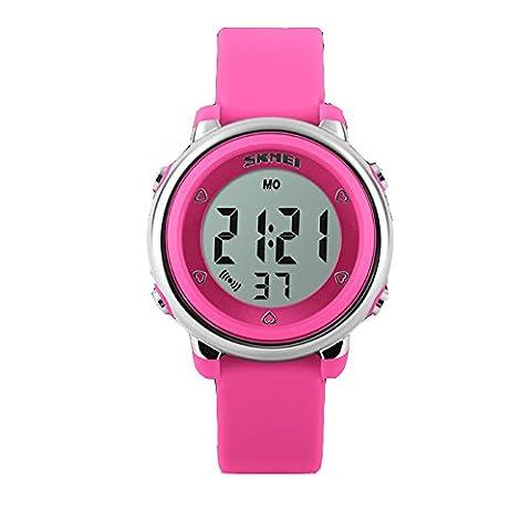 Klassisch Gelee Kolorit Kalender Alarm Multifunktional Armbanduhr Leuchtuhr Uhr Für Kinder, Rosarot