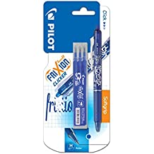 Pilot FriXion Clicker - Bolígrafo roller de tinta borrable (incluye 3 recargas), color azul