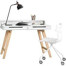 [en.casa] Escritorio retro con silla de oficina - blanco- Mesa de ordenador / consola/ silla giratoria con ruedas