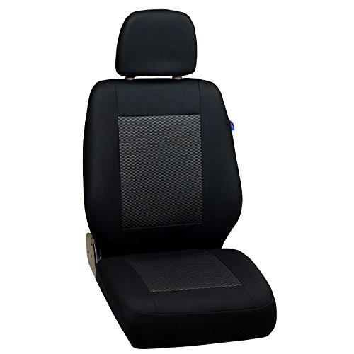 Zakschneider Coprisedile per Mercedes Vito Cargo - Coprisedile Anteriore Sedile del Conducente - Colore Premium Nero con Triangoli Grigi