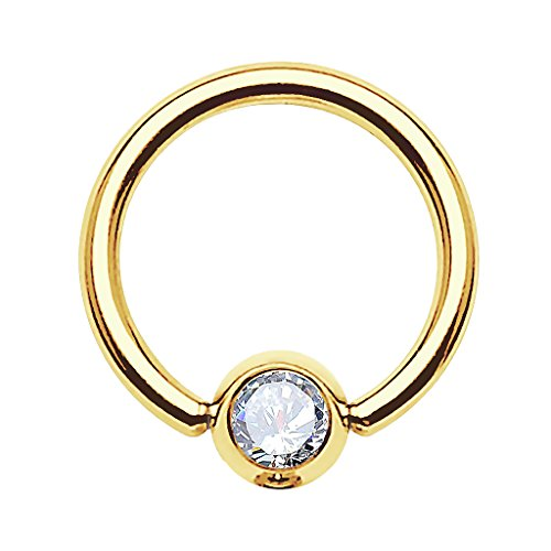 Piercingfaktor BCR Ring Piercing Brust Nippel Lippe Nase Septum Tragus Ohr Helix Intim Perle mit Zirkonia Strass Kristall Gold Clear 1,2mm x 10mm x 4mm (X-ring Swarovski)