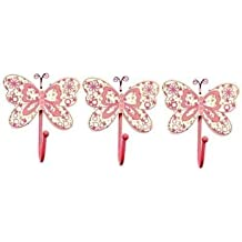 Childrens Set of 3 Girls Pink Butterfly Coat Hooks by Tinkie Toys