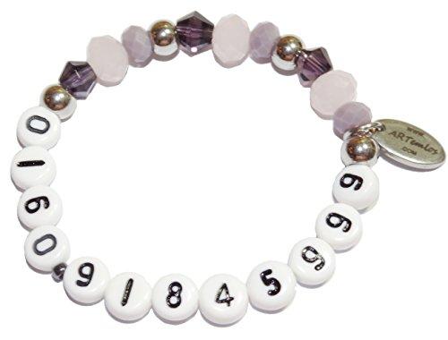 ARTemlos bracciale da bambino con telefono-numero o cellulare, in acciaio inox e perle