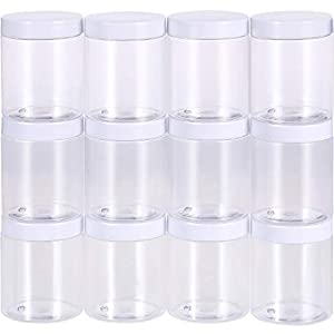 Leere Klare Kunststoff Schleim Speicher Bevorzugungs Gläser Weitmund Plastikbehälter mit den Weißen Deckeln (12 Packung) für Schönheitsprodukte, DIY Slime Herstellung oder Andere (10 oz)