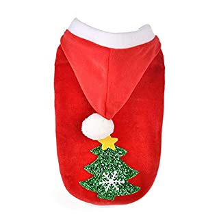 Auoker Dog Christmas Hoodies, Warm Cute Pet Dog Christmas Costume Clothing With Christmas Tree,Soft Cotton, Stylish Christmas Festival Sweater for Puppy Dog Cat - L