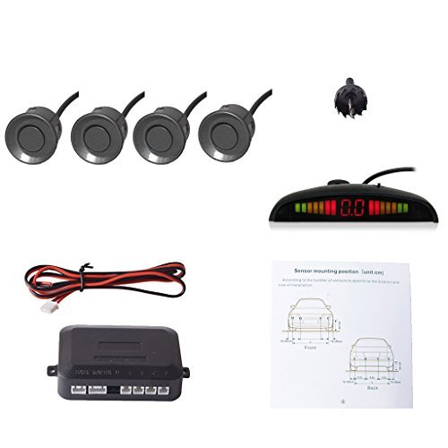 E-KYLIN Car Auto Vehicle Reverse Backup Radar System with 4 Parking Sensors Distance Detection + LED Distance Display + Sound Warning (Gray Color) by E-KYLIN (Reverse-led-sensor Grau)