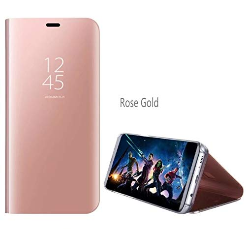 BELLA BEAR Case für Samsung Galaxy J4 Core-mit Halterung & spiegelfunktion/flip-Cover/Design Mode/voller bildschirmschutz-Rose Gold...