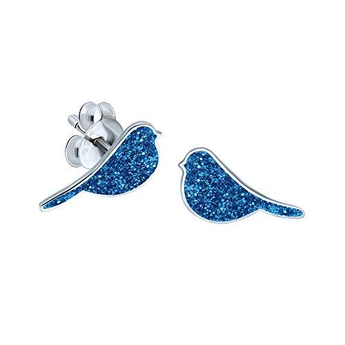 Ohrringe Vogel Sterling-Silber 925 Blau Glitzer Geschenk