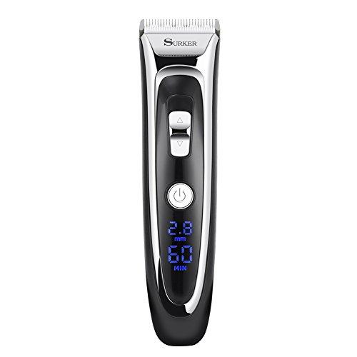 GHB Surker Haartrimmer Haarschneider Profi-Haarschneidemaschine mit LED-Display und kabelloser Betrieb Netzteil elegant set