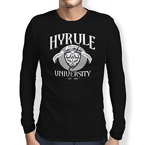 TEXLAB - University of Hyrule - Herren Langarm T-Shirt Schwarz