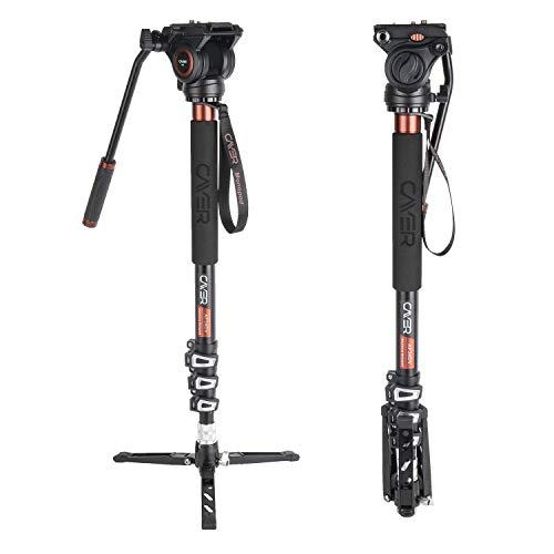 Professionelles Video-Monopod-Kit, Cayer AF34DVH4 71-Zoll-Teleskop-Flip-Lock-Monopod mit H4-Fluidkopf und Abnehmbarer Stativbasis für DSLR-Kameras und Camcorder