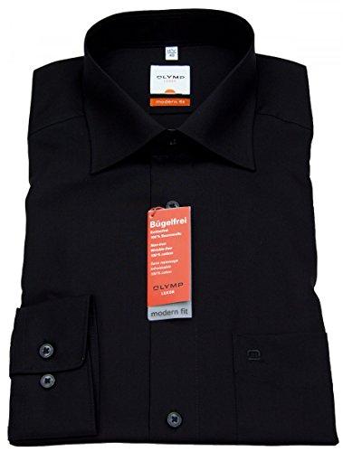 Herren Hemd Modern Fit Kurzarm, 44, schwarz