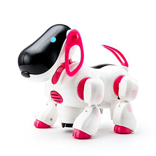Playtech Logic Electronic Puppy Robot Dog Light Up Girls Boys Toys with Sound for Kids, Pet Nodding Barking and Walking Dog Toy with Bump and Go Function, Pink