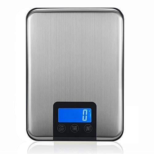 Báscula digital de cocina de acero inoxidable, pantalla LCD, pesa 15 kg / 1 g, utensilios de cocina de cocina de precisión, pantalla LCD con luz de fondo