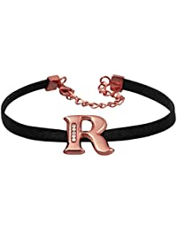 Exxotic Jewelz Designer Rose Gold Plated Initial Alphabet Leather Cord Friendship Day Band Bracelets Gifts For...