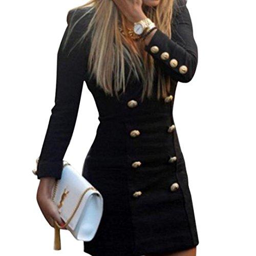 Gaddrt Women Slim Long Sleeve Buttons Casual Bodycon Cocktail Mini Dress Black