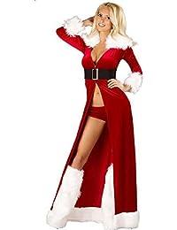 CHIYEEE Donna Natale Costumi Partito Vestito Le Signore Manica Lunga Swing  di Regina Vestito Abiti di e926a06d38c