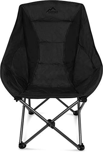 normani Deluxe Campingsessel Relaxsessel XXL Moonchair Schalensitz- Comfort Camping-Stuhl - Gepolsterter Outdoor Klappstuhl, Traglast: 150 Kg (330 lbs) Farbe Schwarz - Schwarze Outdoor-klappstühle