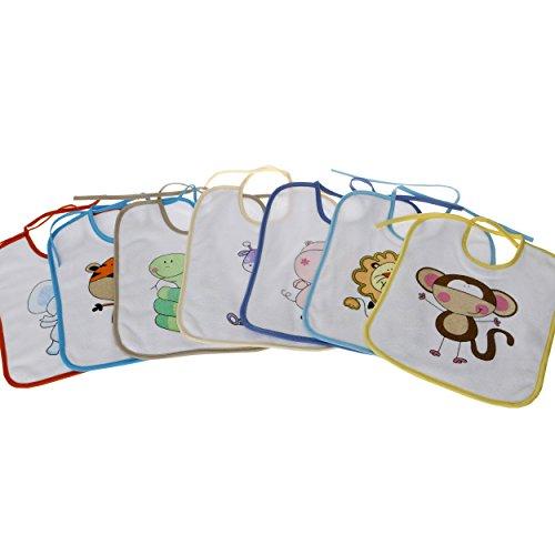 natubini Lätzchen 7-er Set, bunte Safari-Freunde, 7-Tage-Lätzchen Set aus weißem flauschigem Frottee mit Jersey-Einfassung, Einheitsgröße Größe OneSize