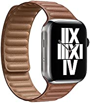 Compatible with Apple Watch Band 44mm 42mm, Genuine Leather Watch Strap Replacement for Apple Watch Series 6/5
