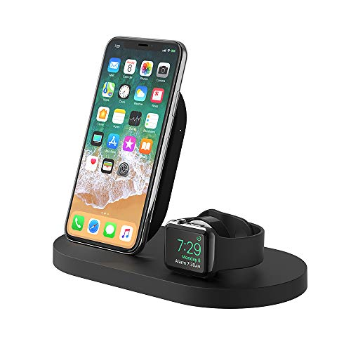 Belkin Boost Up - Base de carga inalámbrica para iPhone + Apple Watch + puerto USB-A (estación dock para iPhone/cargador inalámbrico para iPhone XS, XS Max, XR, X, 8/8 Plus, Apple Watch 4, 3, 2 y 1)
