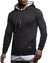 LEIF NELSON Herren Pullover   Hoodie mit Kapuze   Moderner Sweatshirt-Pullover    Langarm Sweatshirt e9bcbdabf6