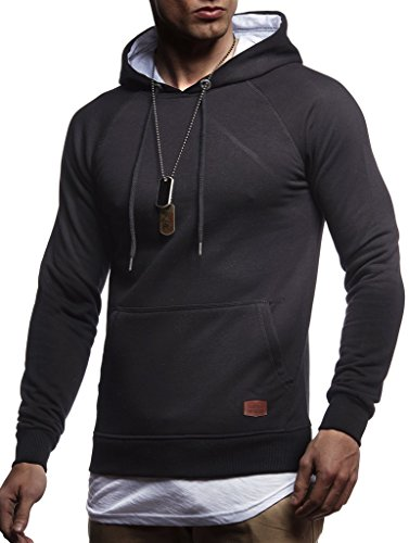 LEIF NELSON Herren Kapuzenpullover Slim Fit Baumwolle-Anteil | Moderner weißer Herren Hoodie-Sweatshirt-Pulli Langarm | Herren schwarzer Pullover-Shirt mit Kapuze | LN8125 Schwarz 2in1 ()